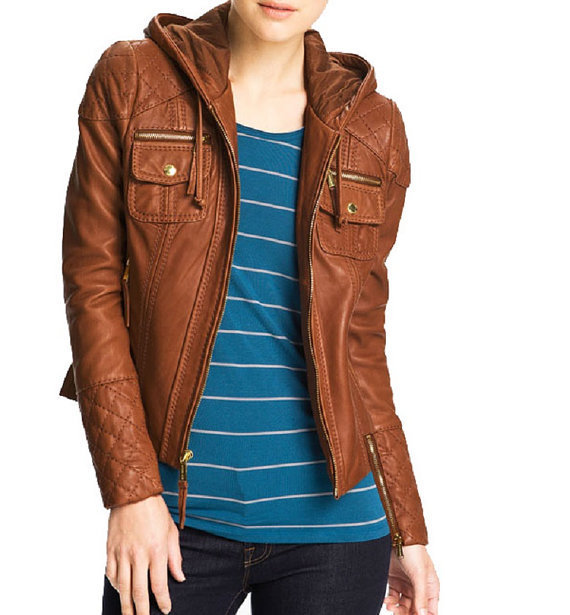 84ee1ca7a3c3 Handmade Women Brown Leather Jacket Hoodie - Genuine Leather on Luulla